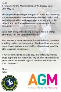 AGM REMINDER 25TH MAY 2016